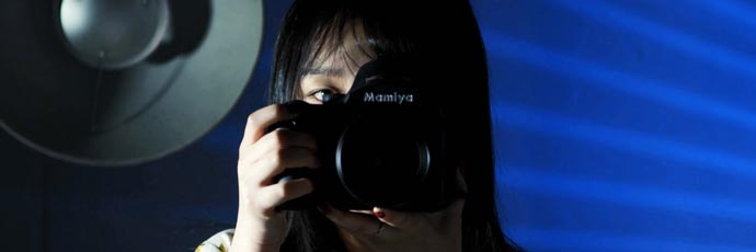 Mamiya camera in the hands of NTU student
